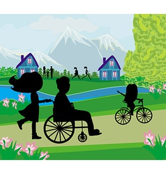 spring day in the park vector image