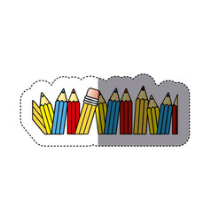 sticker silhouette with colored pencils row with vector image vector image