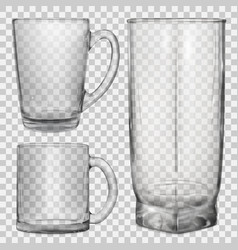 two transparent glass cups and one glass for juice vector image vector image