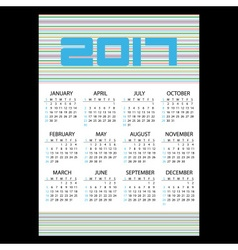 2017 simple business wall calendar with horizontal vector image vector image