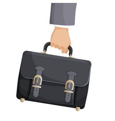 briefcase in businessman hand vector image vector image