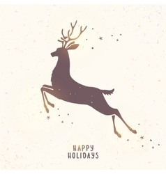 deer silhouette holiday vector image vector image