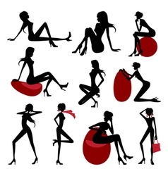 Fashion model silhouette set vector image vector image