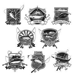Icons set for fishing or fisher sport club vector