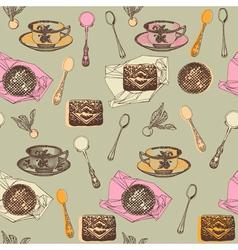 Vintage Afternoon Tea Pattern vector image vector image
