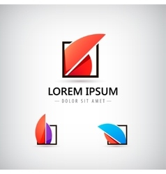 abstract 3d logo icons set vector image