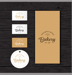bakery logo identity package vector image