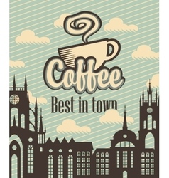banner with a cup of coffee vector image vector image