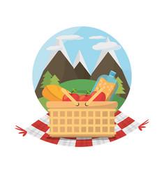 picnic basket food blanket mountains label vector image vector image