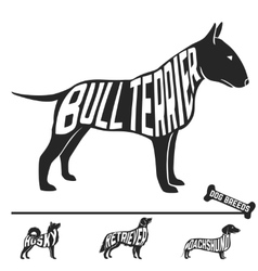 Set of dog breeds silhouettes with text inside vector image vector image