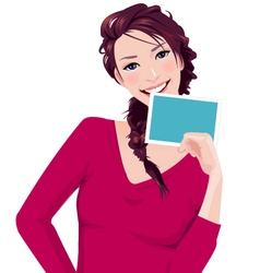 woman holds photo frame vector image vector image