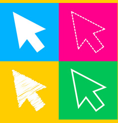 arrow sign four styles of icon on vector image