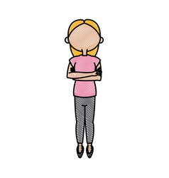 cartoon girl young arms folded image vector image