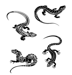 Fast lizards in and tribal style vector image vector image