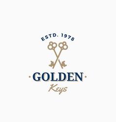 golden keys retro abstract sign symbol or vector image