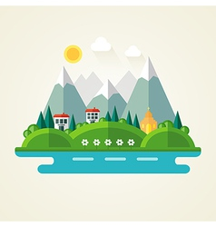 Nature landscape flat icon vector image vector image