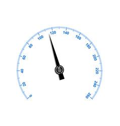 Needle speedometer with blue numbers vector