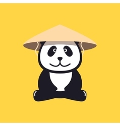 Panda in Chinese conical straw hat vector image