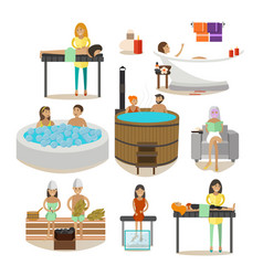 set of spa salon people rehabilitation vector image