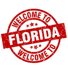 welcome to florida red stamp vector image vector image