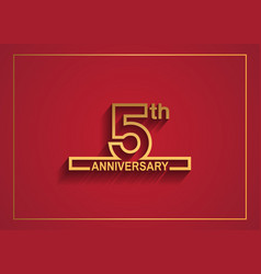 5 anniversary design with simple line style vector