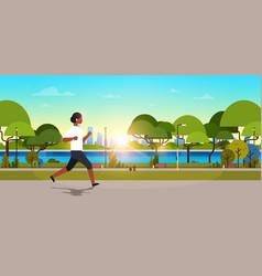 African american woman jogging outdoors modern vector