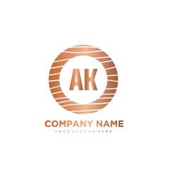 Ak initial letter circle wood logo template vector