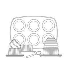 baking pans for cupcakes and cupcake in plate vector image