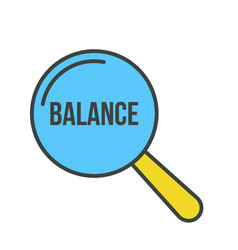 Balance word magnifying glass vector