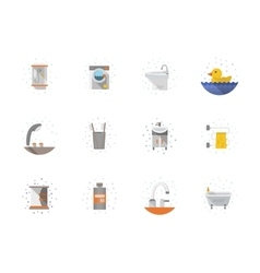 Bathroom flat color icons collection vector