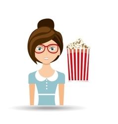 beautiful girl concept cinema movie pop corn icon vector image