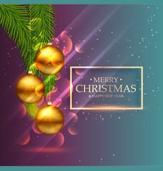 Beautiful shiny golden christmas balls with leafs vector
