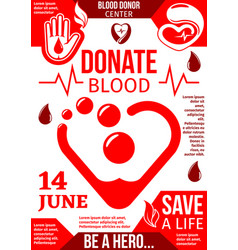 blood donor center banner with red drop and heart vector image