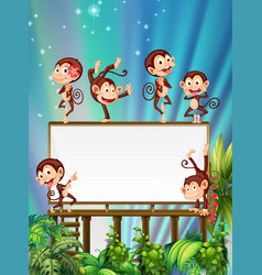 Board template with cute monkeys vector