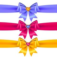 Bows heart color vector