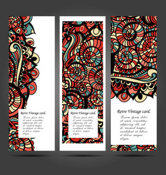 Business card with asian ethnic floral retro vector