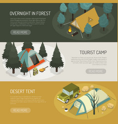 Camping tents choices horizontal banners set vector