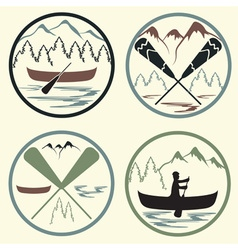 Canoe camp vintage labels set vector