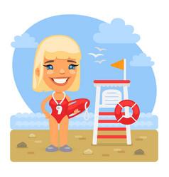 cartoon lifeguard on sea beach vector image