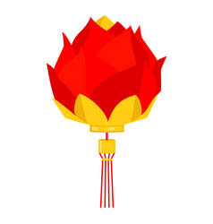 cartoon red chinese lotus lantern vector image