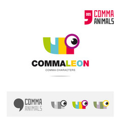 chameleon animal concept icon set and logo brand vector image