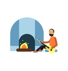 Cheerful bearded man character sitting near tent vector