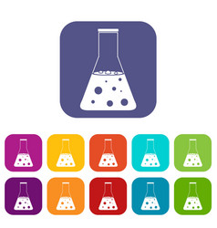 chemical flask icons set flat vector image