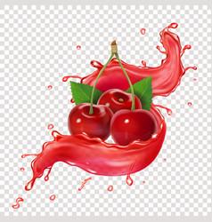 Cherry berry splashing juice realistic vector