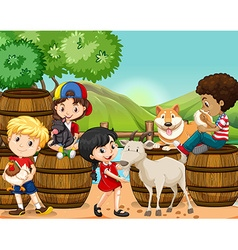 Children and farm animals vector image