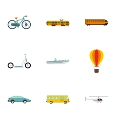 City transport icons set flat style vector image