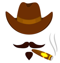 colorful cartoon smoking cowboy avatar vector image