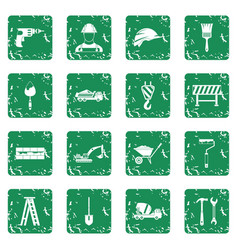 Construction icons set grunge vector