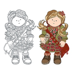 cute little girl in dress with bag girl vector image