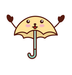 cute umbrella kawaii character vector image